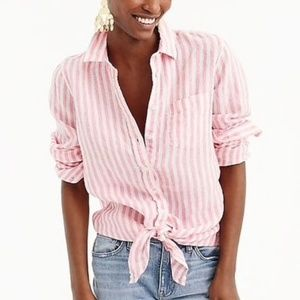 J. Crew Linen Front Tie Pink White Striped Top
